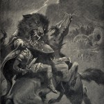 Odin and Fenris engaged in battle during Ragnarök.