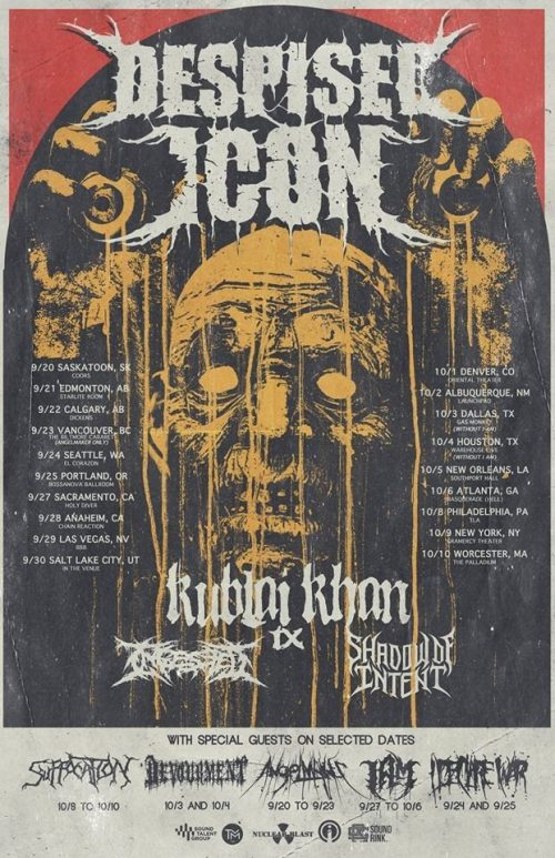Despised Icon touring with Ingested, Kublai Kahn, Shadow of Intent
