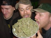 Weedeater band photo with plate of weed
